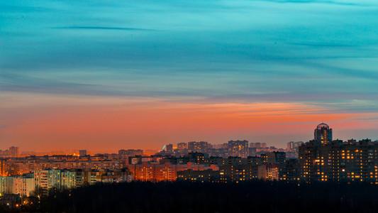 Beautiful night skyline of provincial city with illuminated