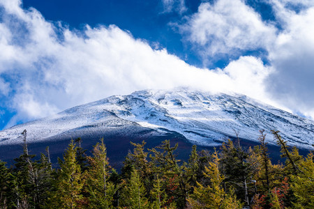 Close up top of Fuji mountain with snow cover and wind on the to