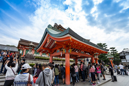 KYOTO JAPAN   OCTOBER 13  2018 Many tourist on Fushimi Inari in
