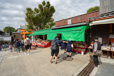 KYOTO JAPAN   OCTOBER 13  2018 Street shopping outside Fushimi