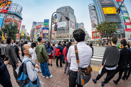 SHIBUYA  TOKYO  JAPAN   OCTOBER 16  2018 Fisheye view of Shibuy