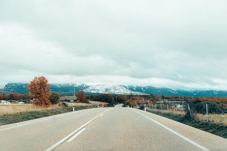 Views of snowy mountains from road