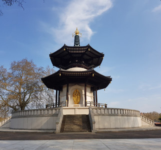 LONDON UK APRIL 15TH 2019 Peace Pagoda temple in Battersea Park by the river Thames London UK