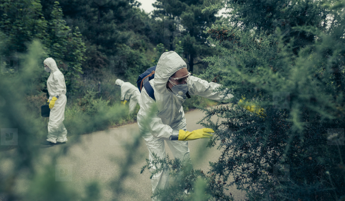 People with protection suits looking for evidence