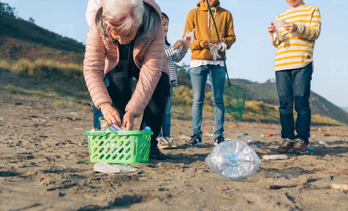 Volunteers preparing to clean the beach