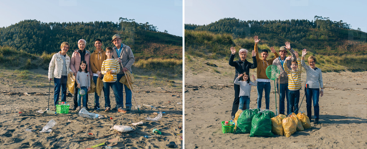 Volunteers before and after cleaning the beach