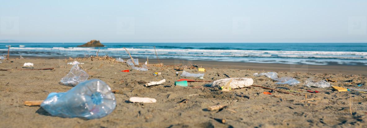 Dirty beach landscape full of waste
