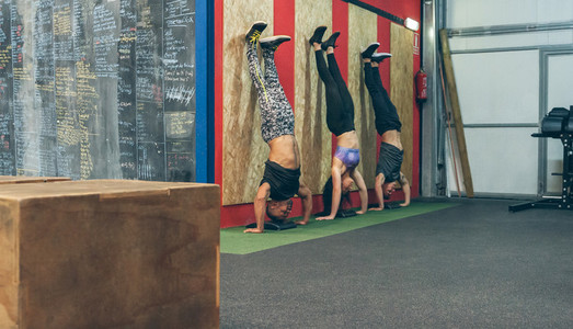 Athletes doing headstands in the gym
