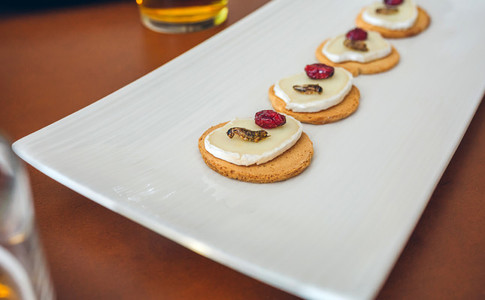 Tray of canapes with crickets