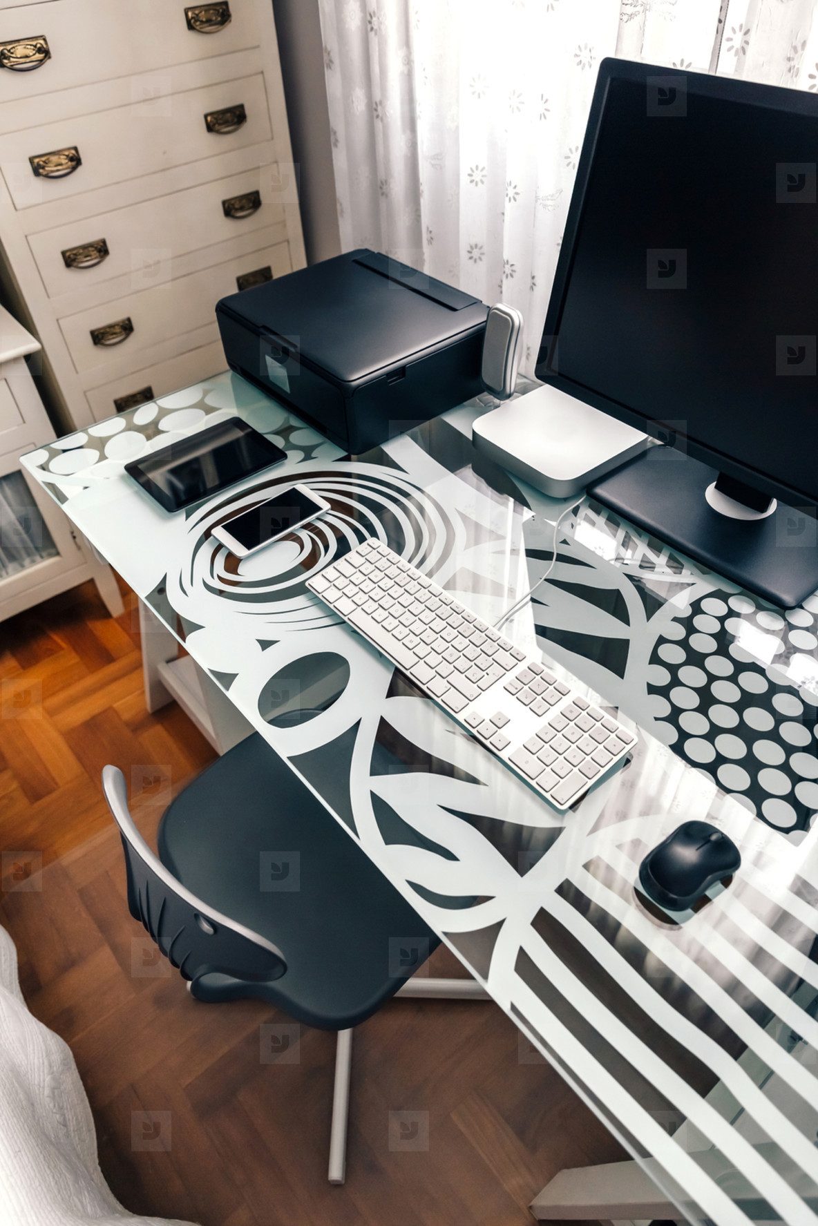 Workstation with table  chair  computer and printer