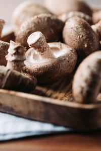 Shiitake mushrooms in a wooden bowl on a table  Macro food photography