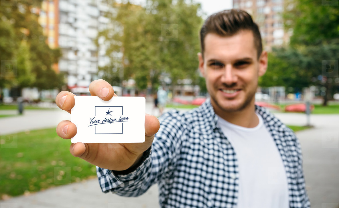 Man showing card with customizable design