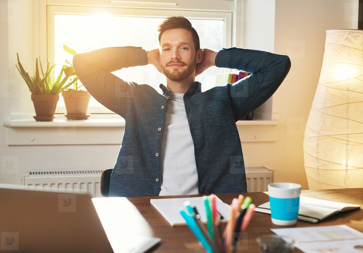 Relaxed Entrepreneur with a speculative expression