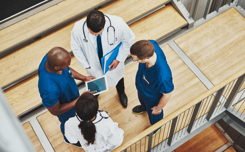 Multiracial medical team having a discussion