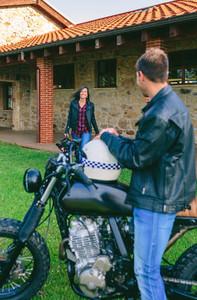 Man waiting his girlfriend on motorcycle