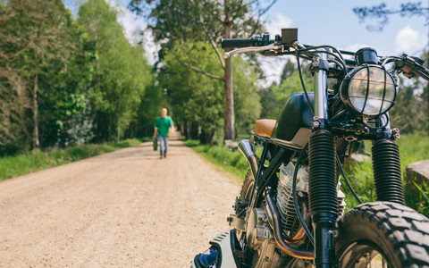 Custom motorbike on the side of the road
