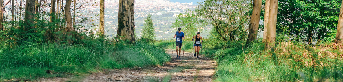 Young woman and man doing trail