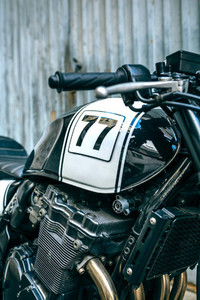 Detail of engine and gas tank of motorcycle