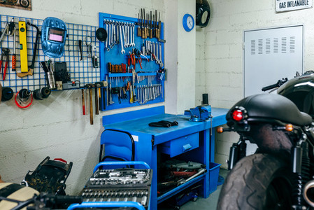 Motorcycle workshop with custom motorbike