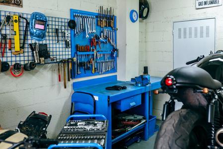Motorcycle workshop with custom motorbike
