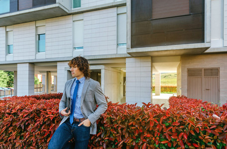 Businessman posing in the street