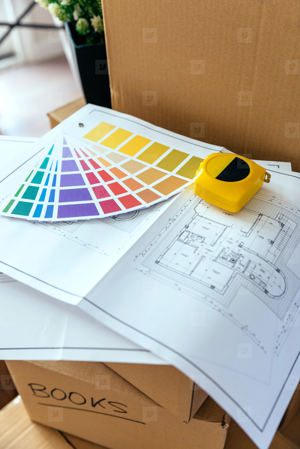 Plan  color palette and metre over boxes