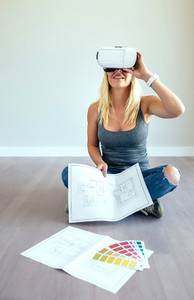 Woman watching with virtual reality glasses