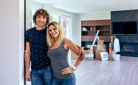 Couple posing in the living room