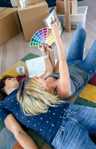 Couple choosing color and resting