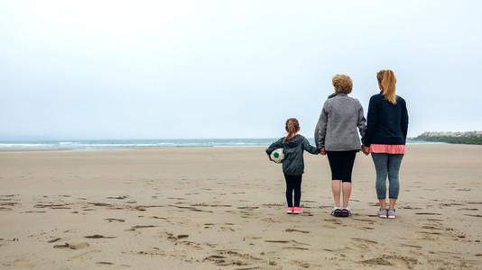 Three generations female watching the sea