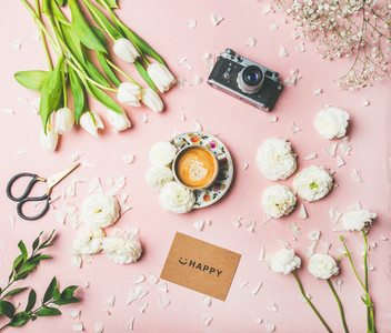 Spring layout with coffee  flowers  sign with lettering happy