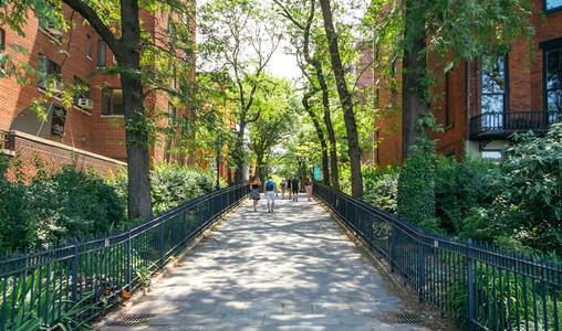 People walking by street in Blookyn district in New York City