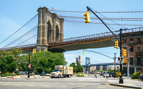Brooklyn Bridge with Manhattan Bridge in background
