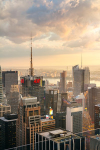 Skyline of Manhattan at dusk in New York City