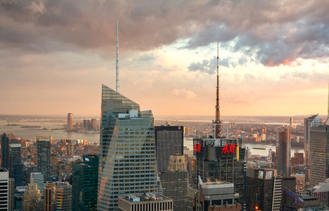 Skyline of Manhattan at dusk in New York City