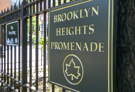 Brooklyn Heights Promenade sign in New York City