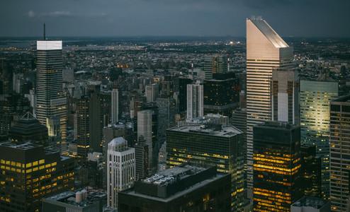 Skyline of Manhattan at night in New York City