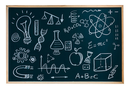 Isolated blackboard with drawings and symbols