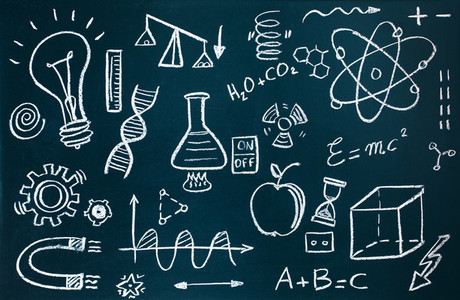 Chemist and mathematical drawings on blackboard background