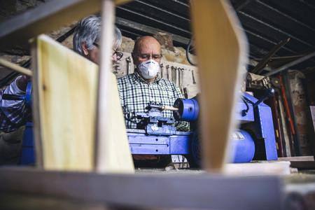 Senior man working in a carpentry