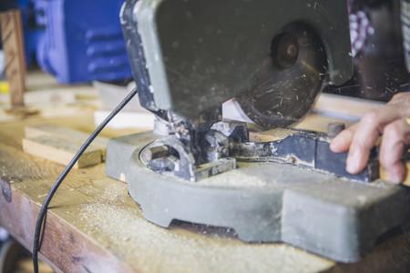 Detail of a miter machine