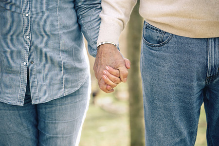 Senior couple holding hands over nature background
