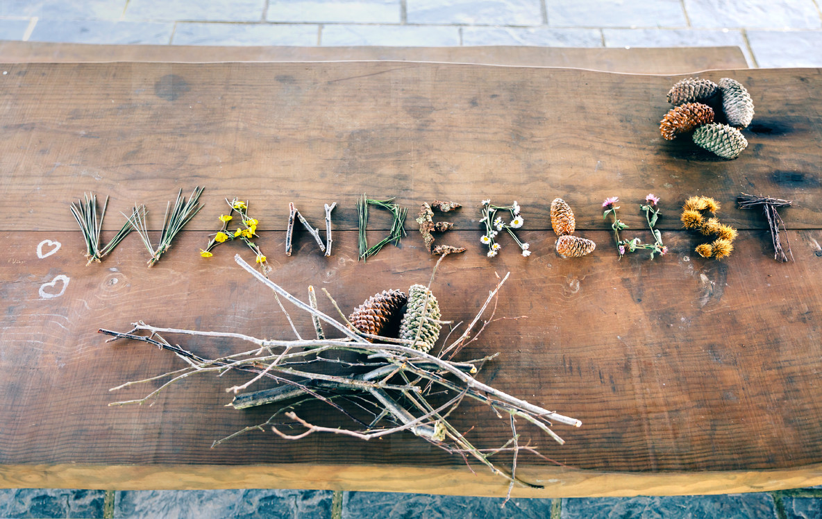 Wanderlust word made with natural objects over table