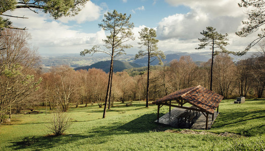 Natural landscape with picnic area over nature background
