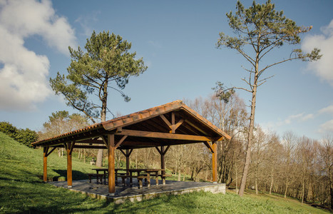Gazebo with picnic tables over nature background