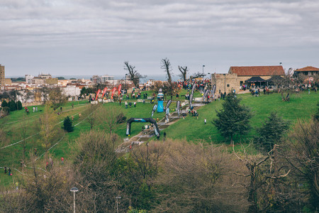 Landscape of extreme obstacle race circuit in a park