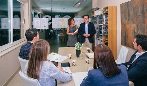Leader team having bussiness meeting in headquarters