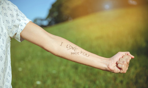 Male arm with text  I hate you  written in skin