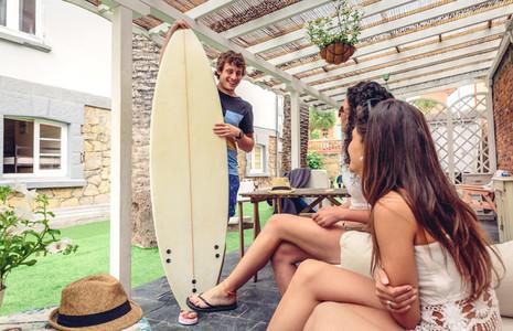 Beautiful women having fun in a surf class