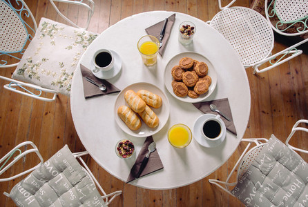Top view of healthy breakfast served over a table